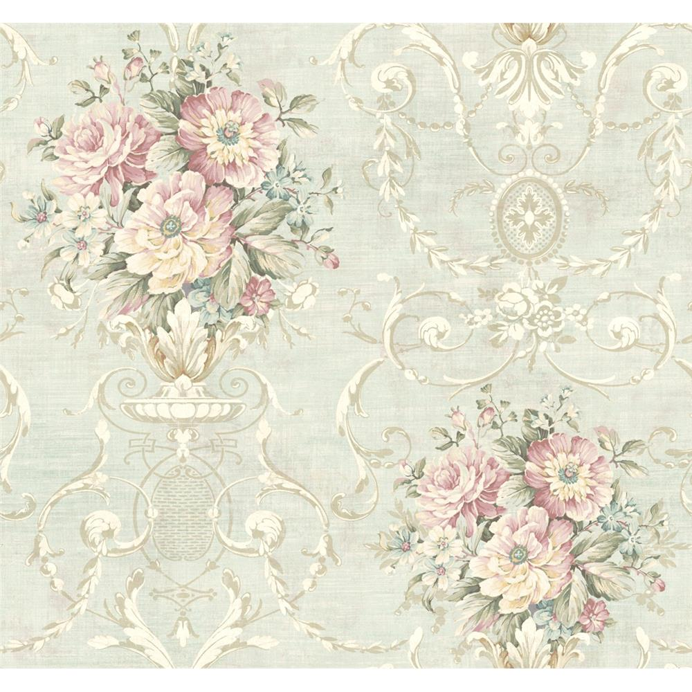 Wallquest TX40009 Cambridge Decadence Floral Wallpaper in Blue