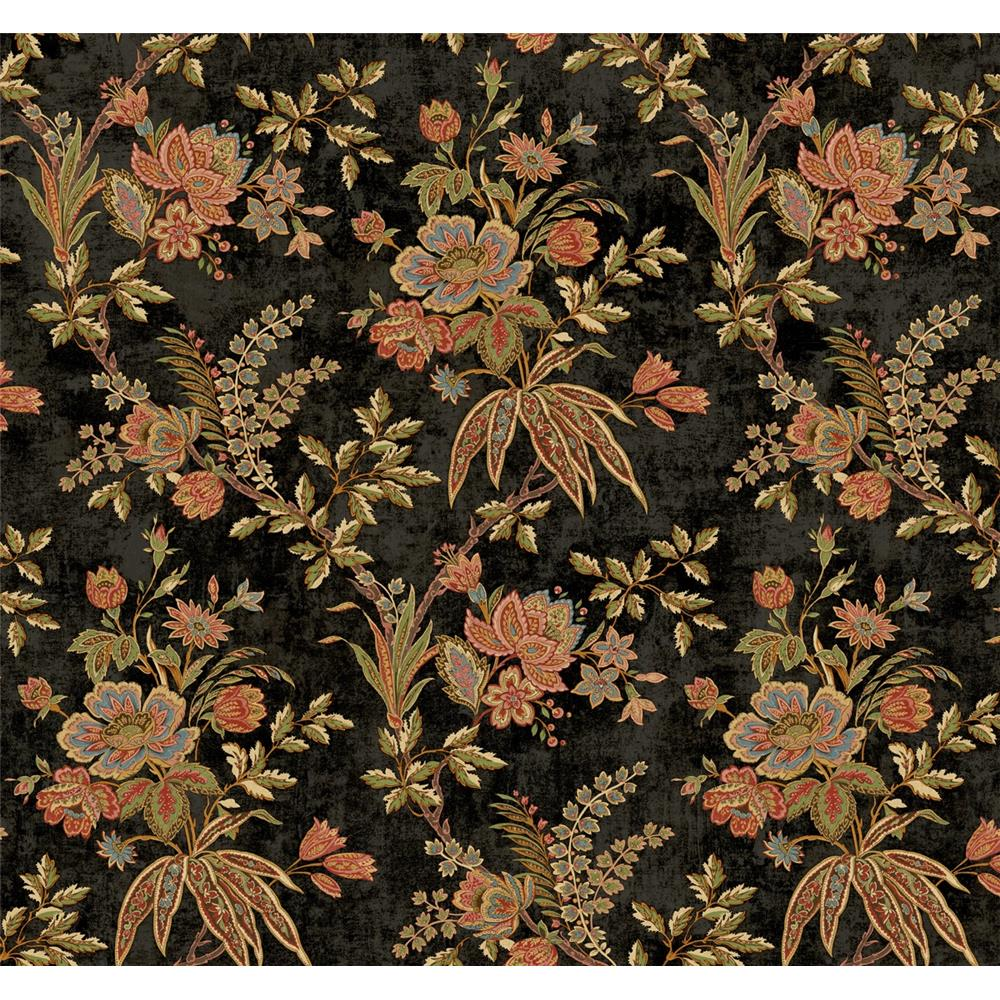 Wallquest TX40400 Cambridge Cartrill Floral Wallpaper in Black