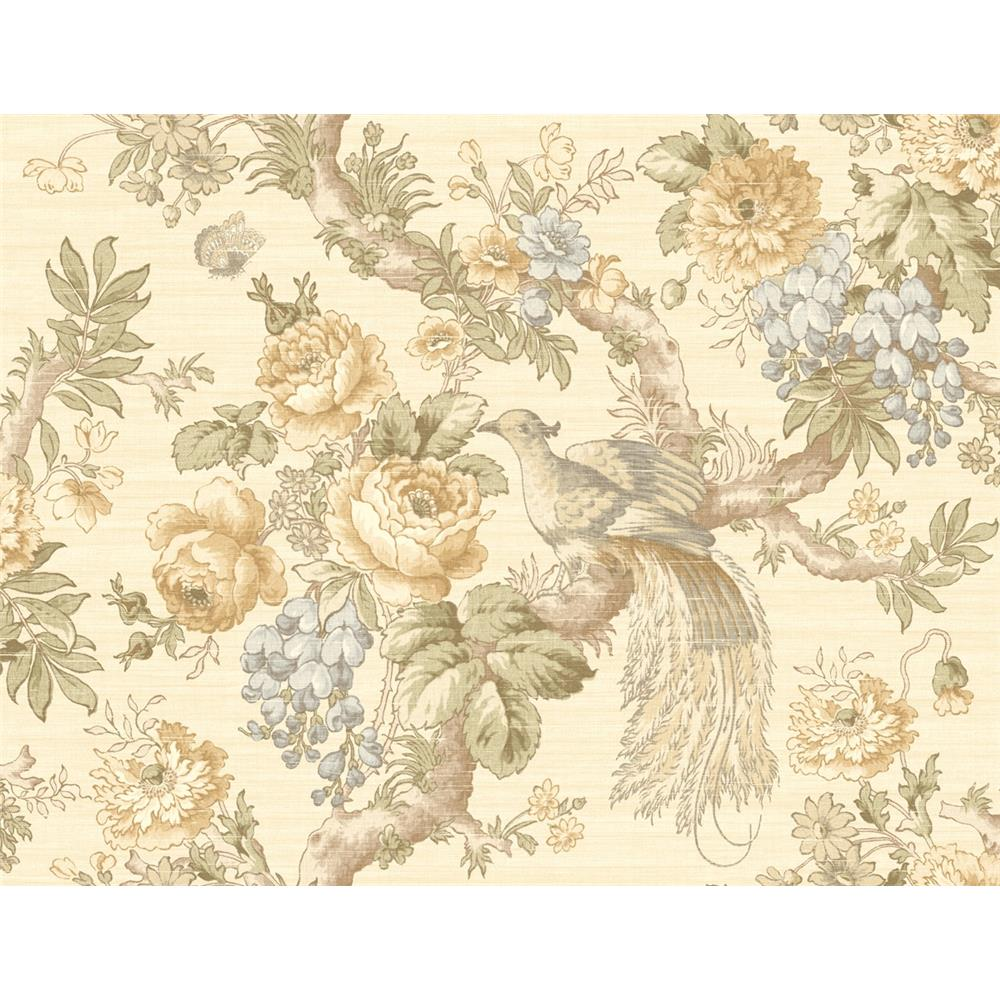 Wallquest TX40603 Cambridge Catilina Floral Wallpaper in Yellow