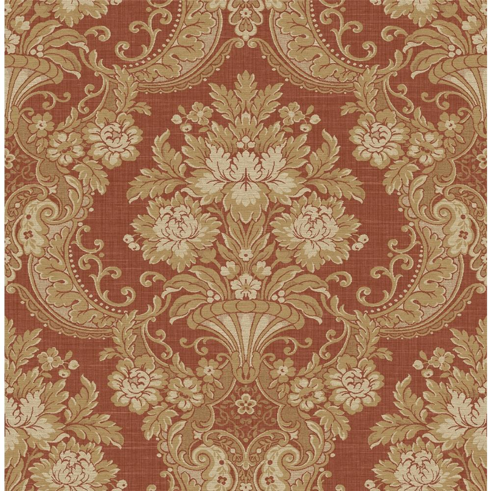 Wallquest TX40901 Cambridge Whimsey Damask Wallpaper in Red