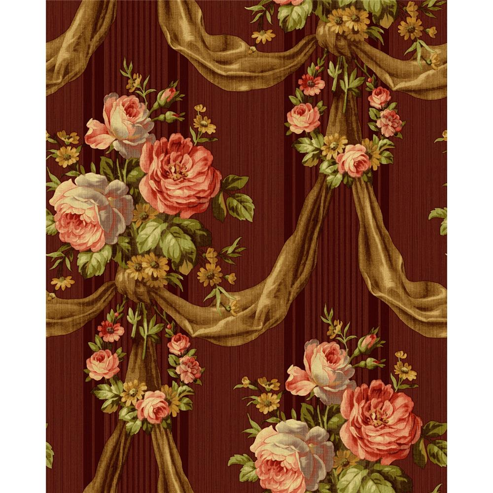 Wallquest TX41115 Cambridge Shantilly Floral Wallpaper in Red