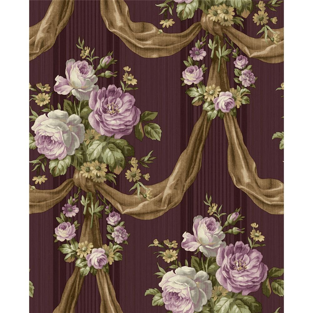 Wallquest TX41119 Cambridge Shantilly Floral Wallpaper in Purple
