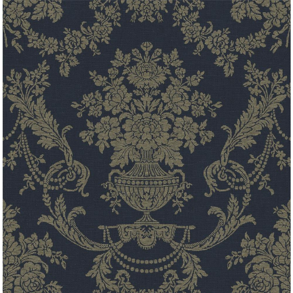 Wallquest TX41809 Cambridge Gregory Damask Wallpaper in Blue