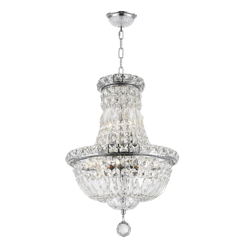 "Worldwide Lighting W83032C12 Empire Collection 6 Light Chrome Finish Crystal Chandelier 12"" D x 16"" H Round Mini"