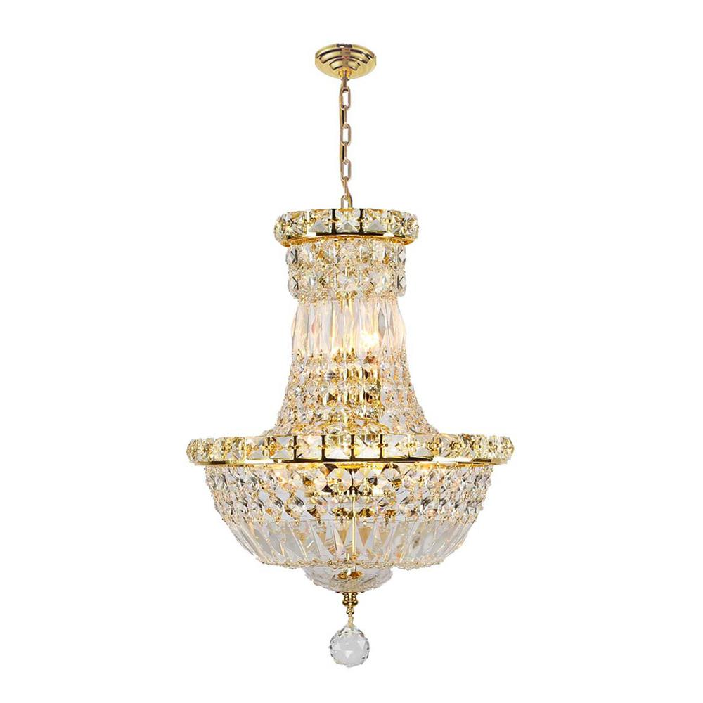 Worldwide Lighting W83032G12 Empire Collection 6 Light Gold Finish and Clear Crystal Chandelier