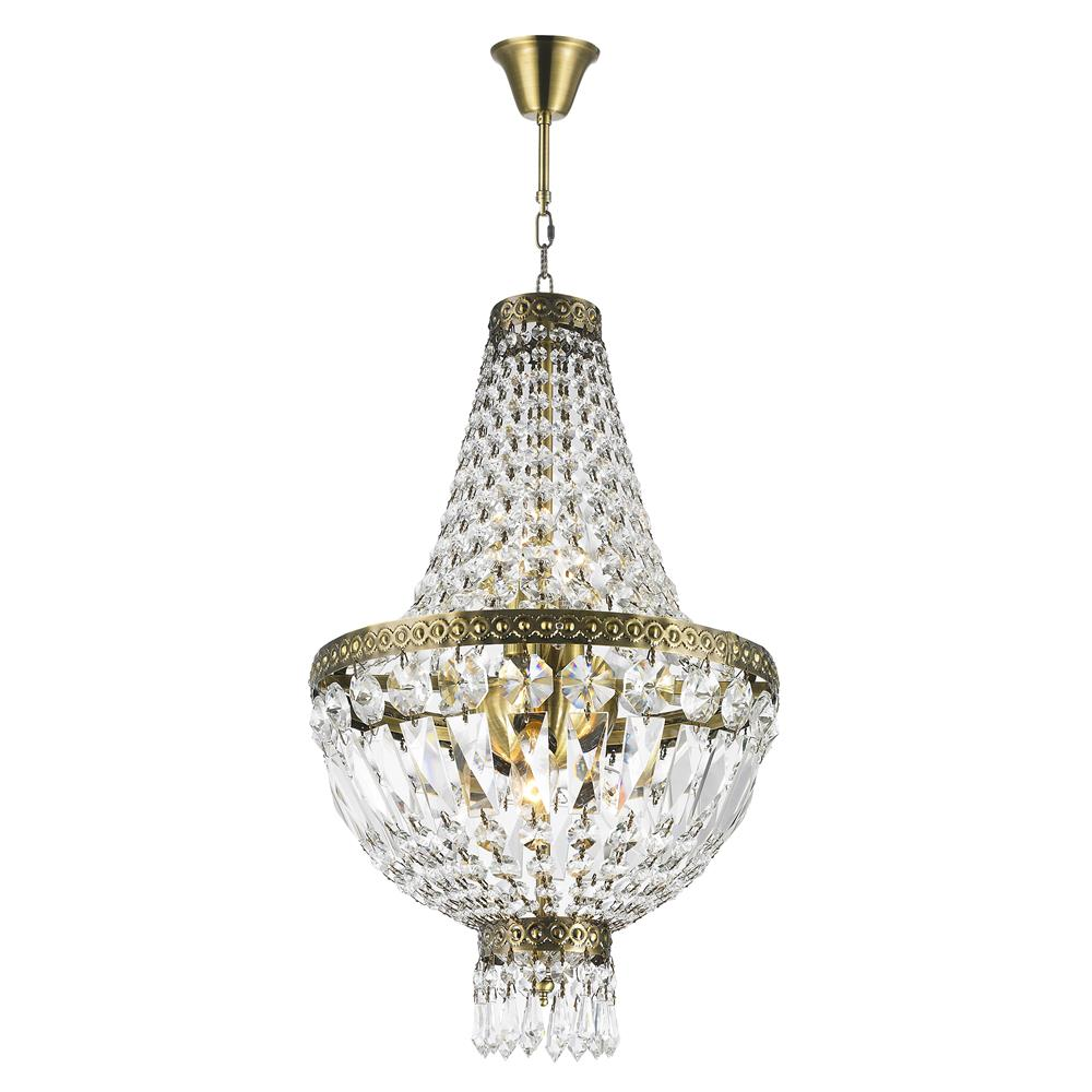 Worldwide Lighting W83088B12 Metropolitan Collection 5 Light Antique Bronze Finish and Clear Crystal Mini Chandelier