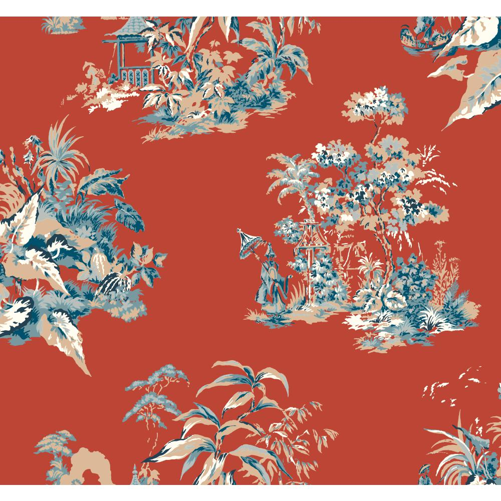 Ashford House by York AF1991 Ashford Toiles Oriental Scenic Wallpaper in red orange/blue