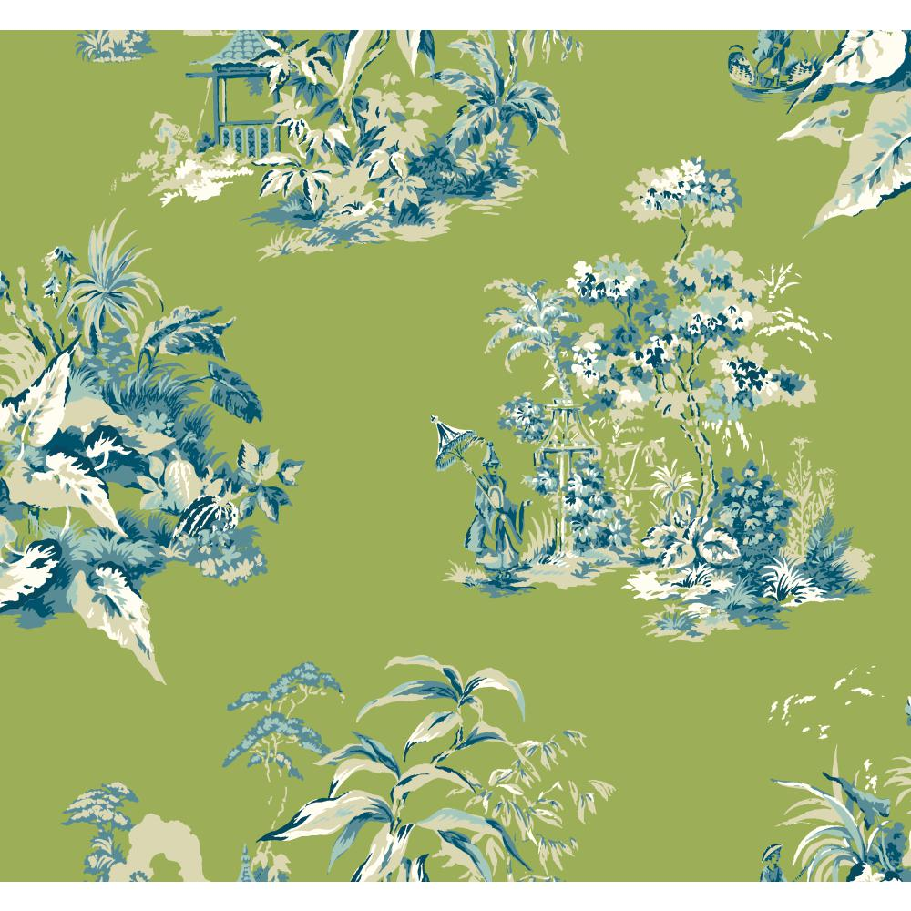 Ashford House by York AF1993 Ashford Toiles Oriental Scenic Wallpaper in green/blue