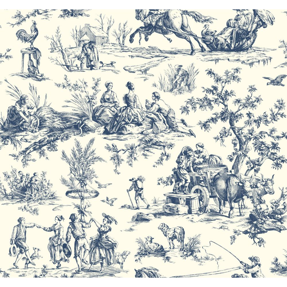 Ashford House by York AF2000 Ashford Toiles Seasons Toile Wallpaper in navy/off-white