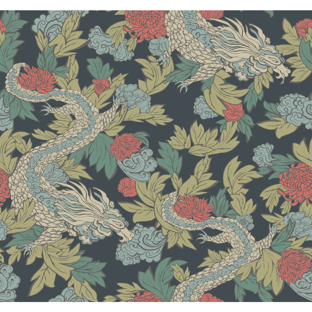 York DR6300 Dwell Studio Ming Dragon Wallpaper - Blues