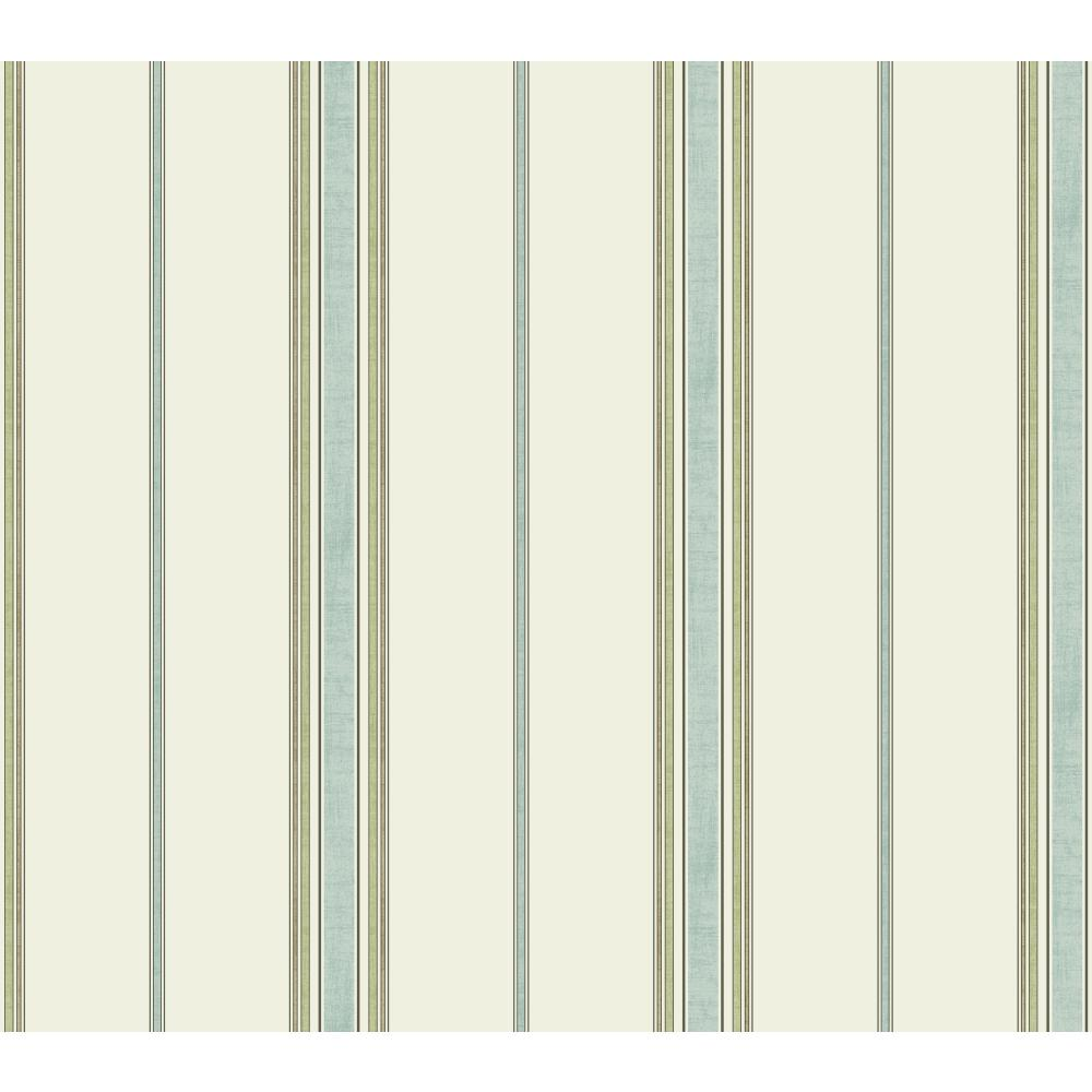 Waverly by York GC8749 Waverly Stripes Incense Stripe Wallpaper in white, aquamarine, pale green