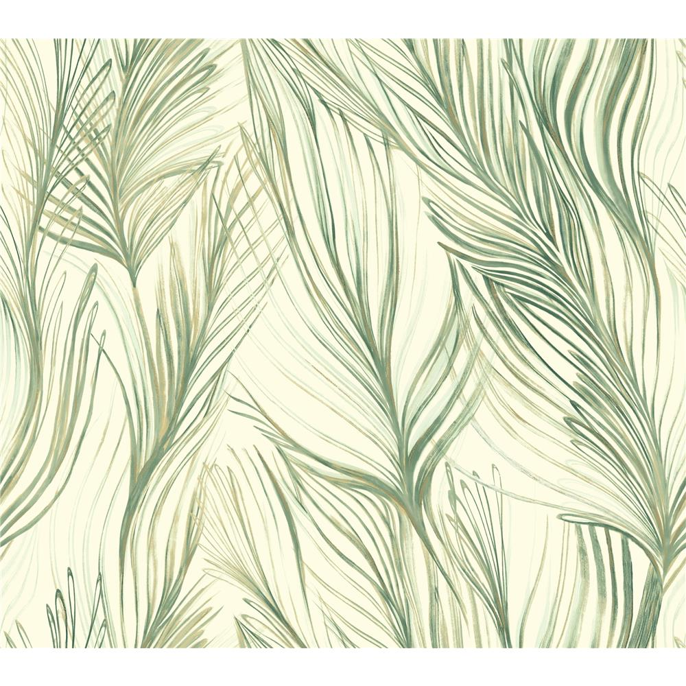 Candice Olson by York NA0500 Peaceful Plume Wallpaper in Green