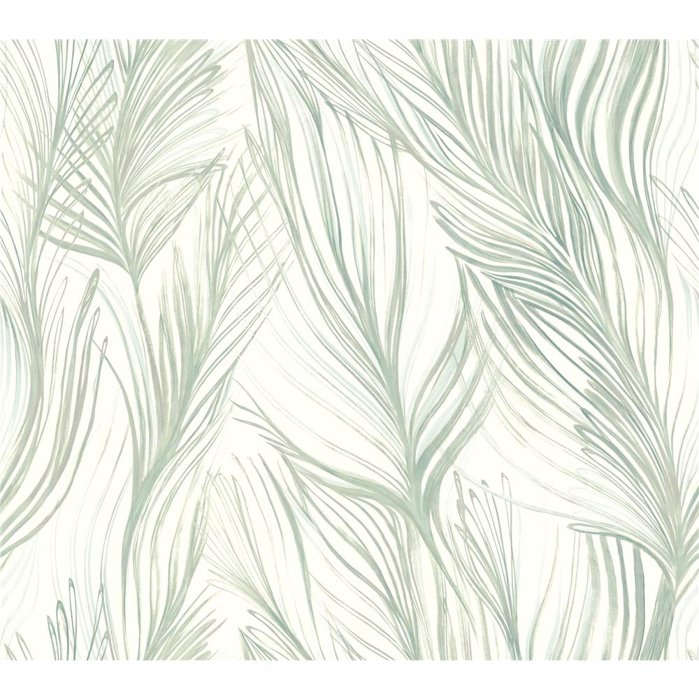 Candice Olson by York NA0501 Peaceful Plume Wallpaper in Light Blue