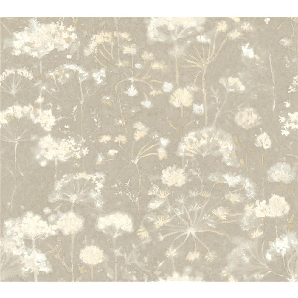 Candice Olson by York NA0540 Botanical Fantasy Wallpaper in Light Grey