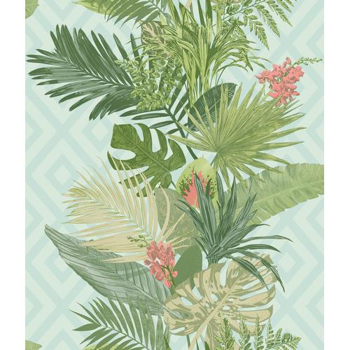 York Wallcoverings ON1628 Outdoors In Tropical Oasis Stripe Wallpaper