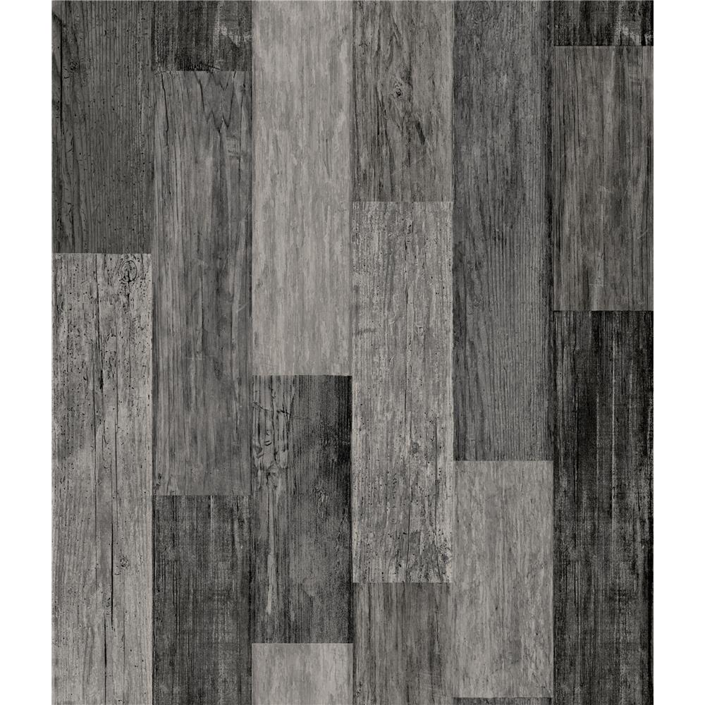 RoomMates by York RMK11210WP Weathered Wood Plank Black Peel & Stick Wallpaper