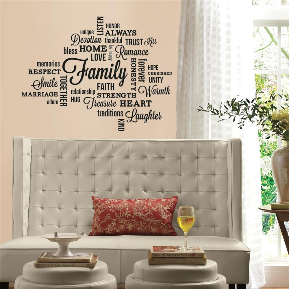 RoomMates by York RMK2741SCS Family Quote Peel And Stick Wall Decals In Black