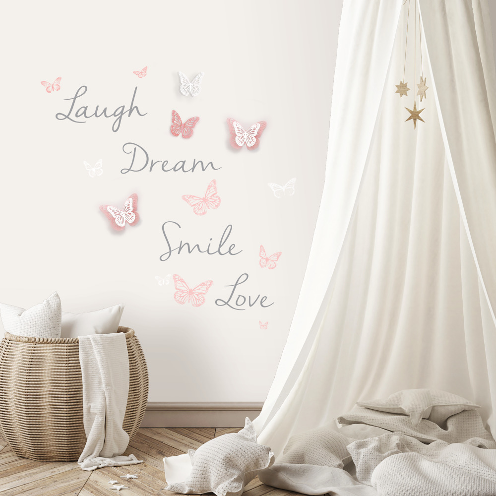 RoomMates by York RMK3173SCS Butterfly Dream Peel And Stick Wall Decals W/ 3D Cutout Butterflies In Pink