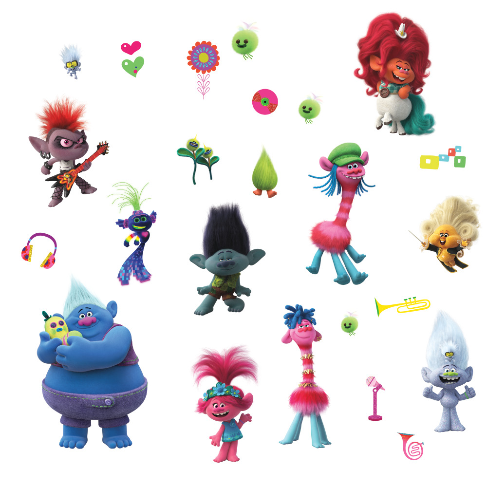 RoomMates by York RMK4247SCS Trolls World Tour Peel And Stick Wall Decals In Red; Pink; Blue; Green