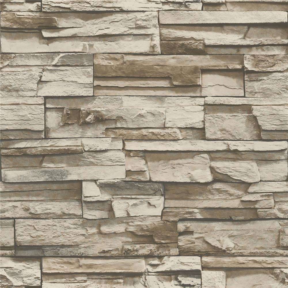 RoomMates by York RMK9025WP Brown Stacked Stone Peel And Stick Wallpaper