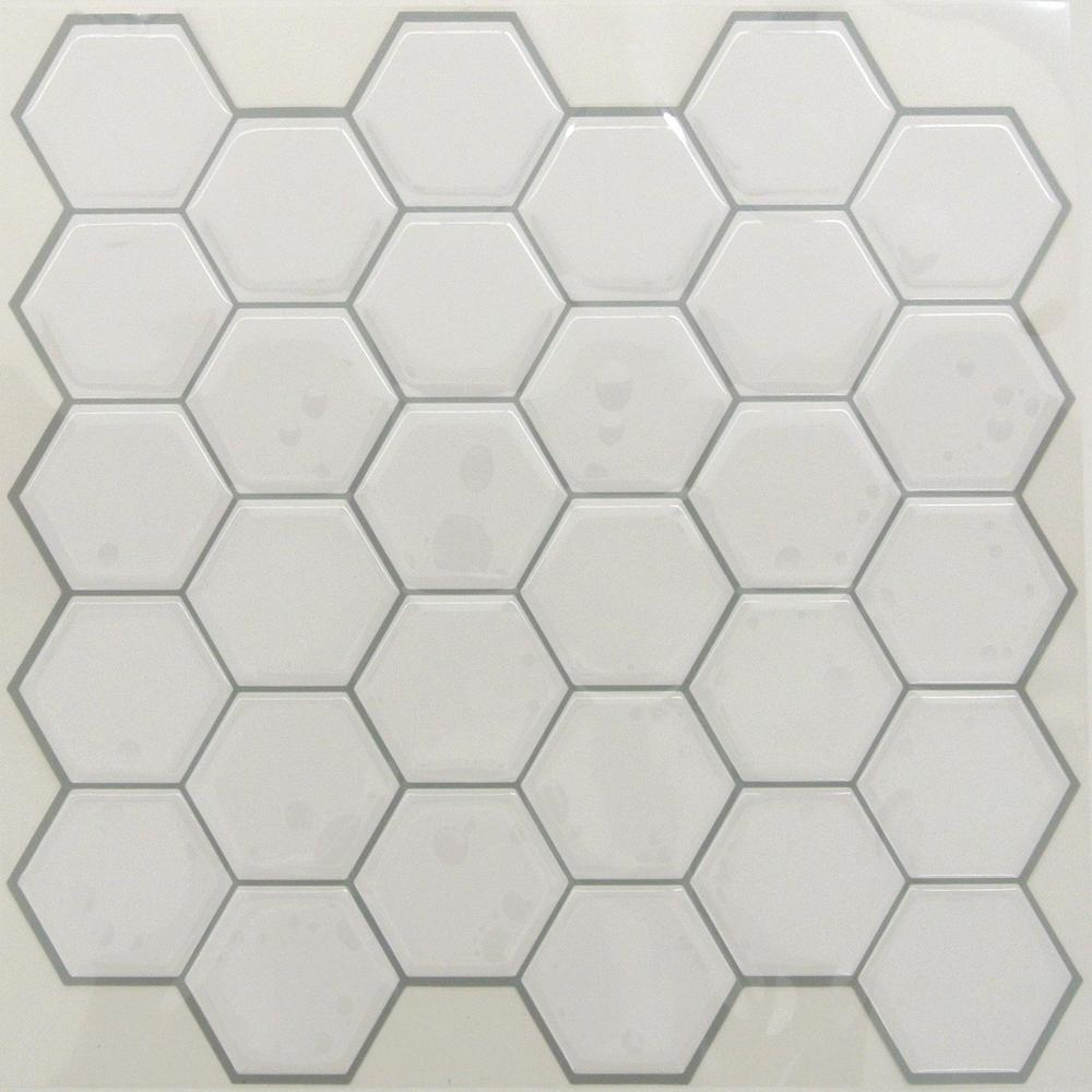 RoomMates by York TIL3458FLT Sticktiles Pearl Hexagon - 4 Pack