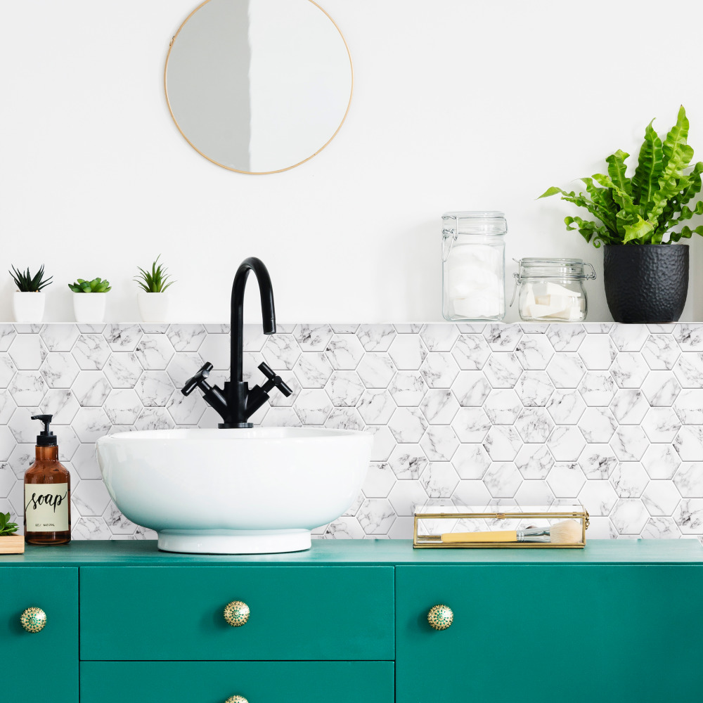 RoomMates by York TIL4245FLT Carrara Marble Hexagon Peel And Stick Backsplash In White; Black