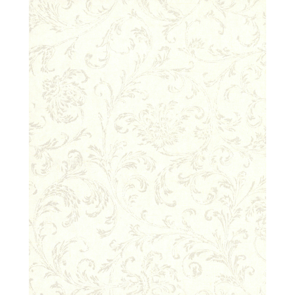 750 Home by York TN0038 Delicate Scroll Wallpaper - White and Silver