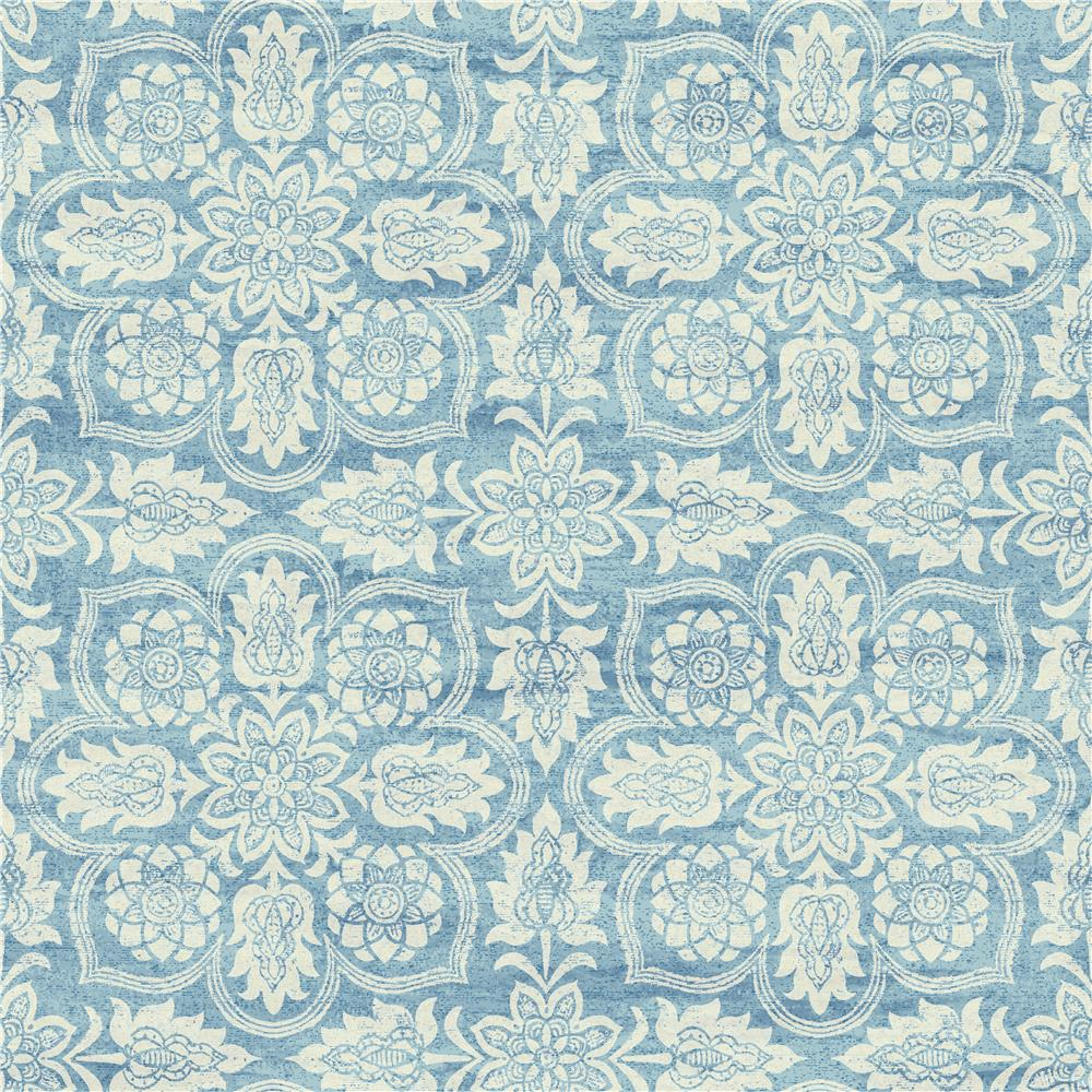 York WC7501 Waverly Classics II Curators Gem Removable Wallpaper in Blues/White/Off Whites