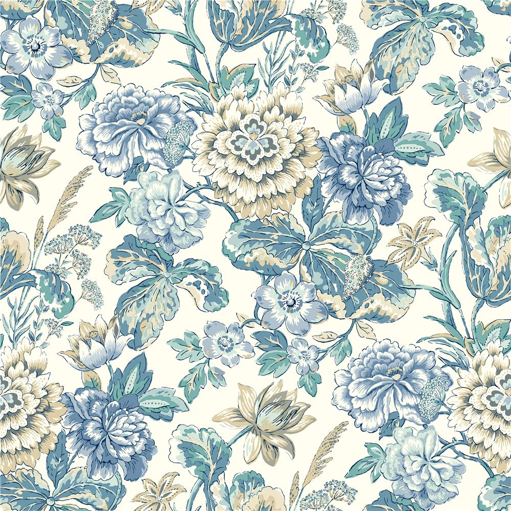 York WC7531 Waverly Classics II Sonnet Sublime Removable Wallpaper in Blues