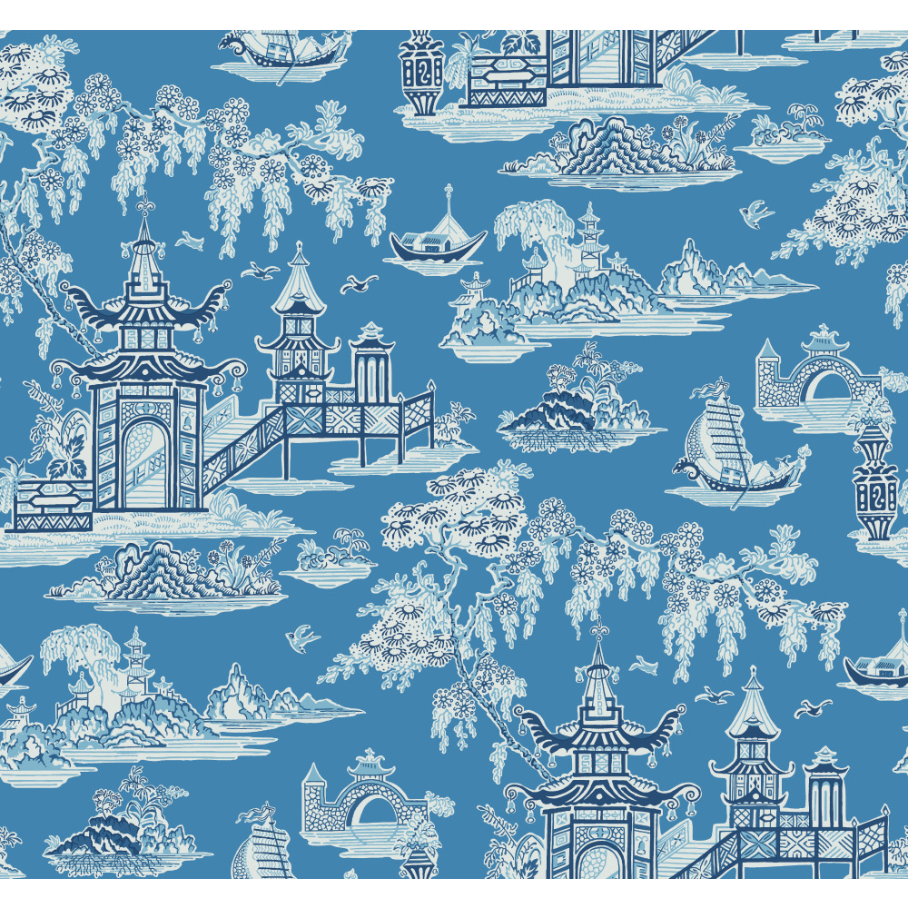 York WC7551 Waverly Classics II Peaceful Temple Removable Wallpaper in Blues