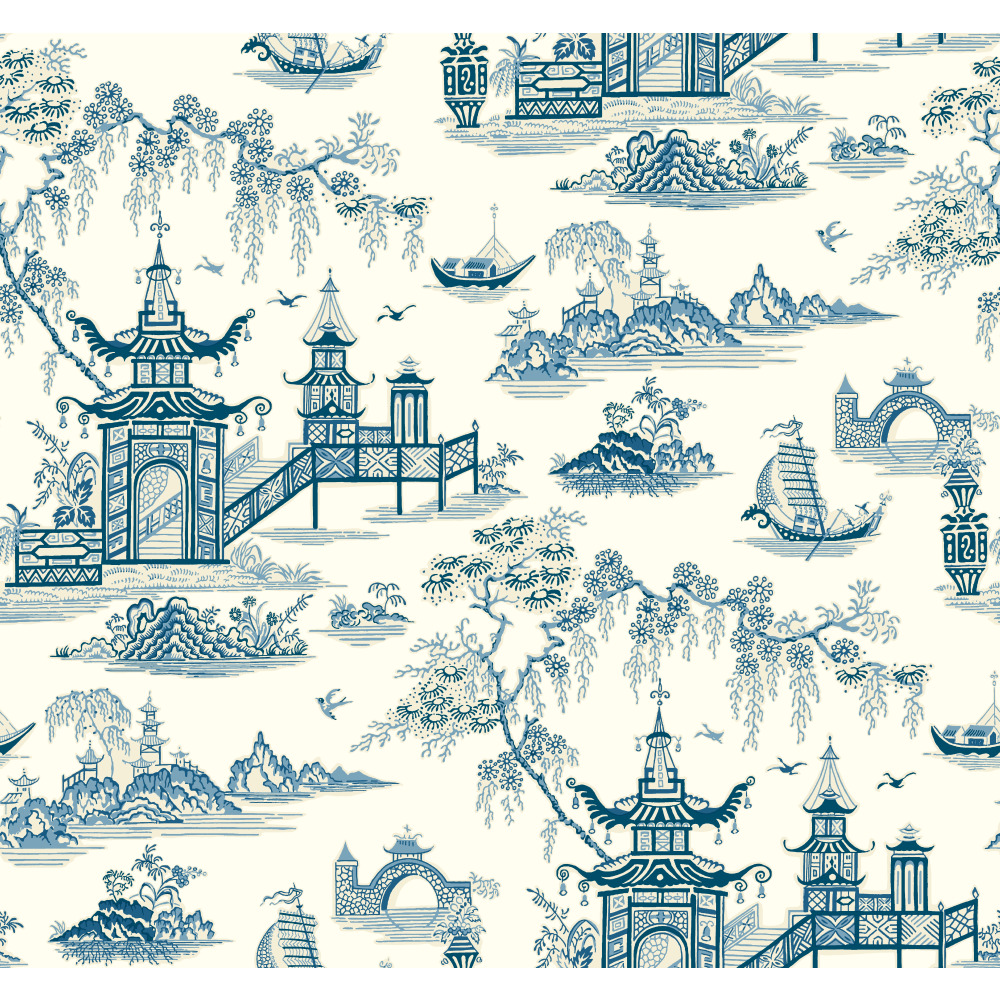 York WC7553 Waverly Classics II Peaceful Temple Removable Wallpaper in Blues
