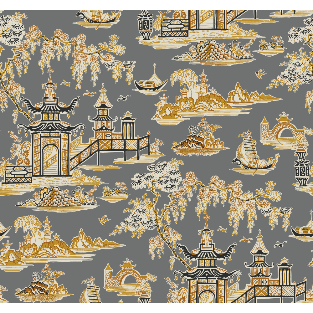York WC7555 Waverly Classics II Peaceful Temple Removable Wallpaper in Blacks
