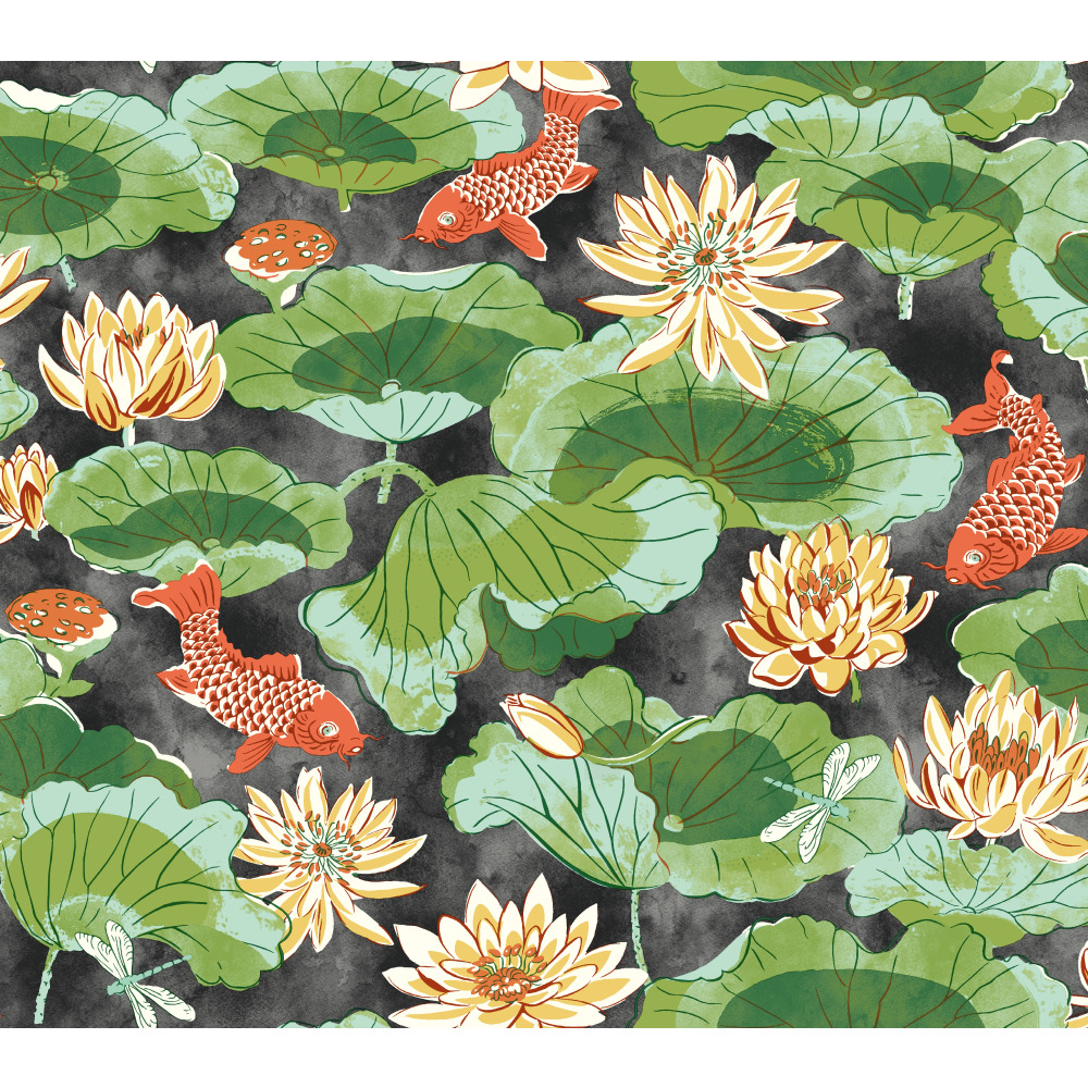 York WC7560 Waverly Classics II Lotus Lake Removable Wallpaper in Blacks