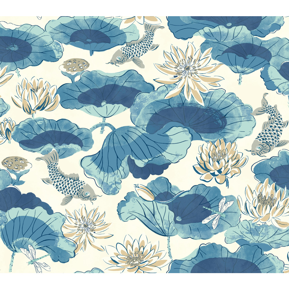 York WC7561 Waverly Classics II Lotus Lake Removable Wallpaper in Blues