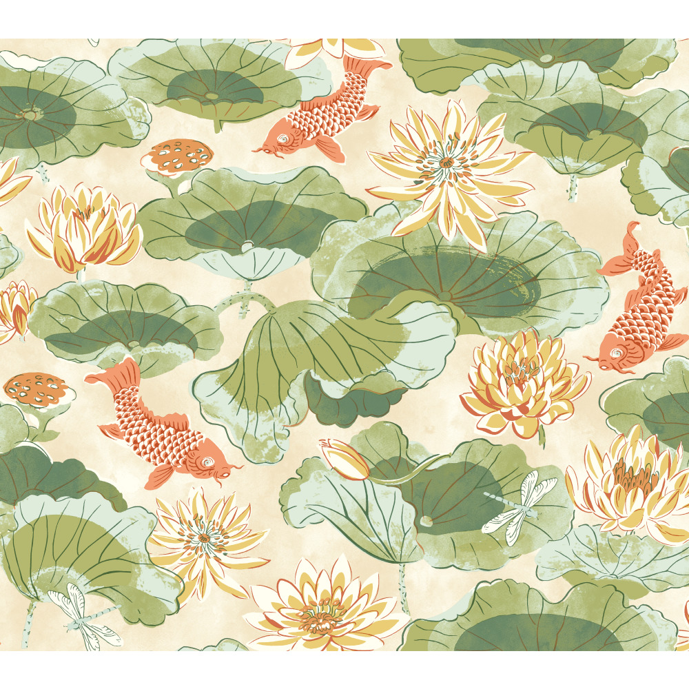 York WC7562 Waverly Classics II Lotus Lake Removable Wallpaper in Greens