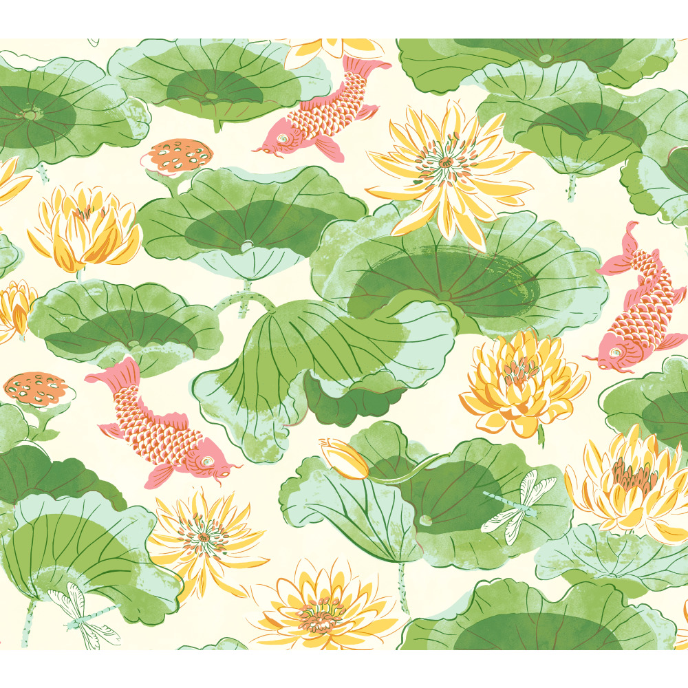 York WC7564 Waverly Classics II Lotus Lake Removable Wallpaper in Greens