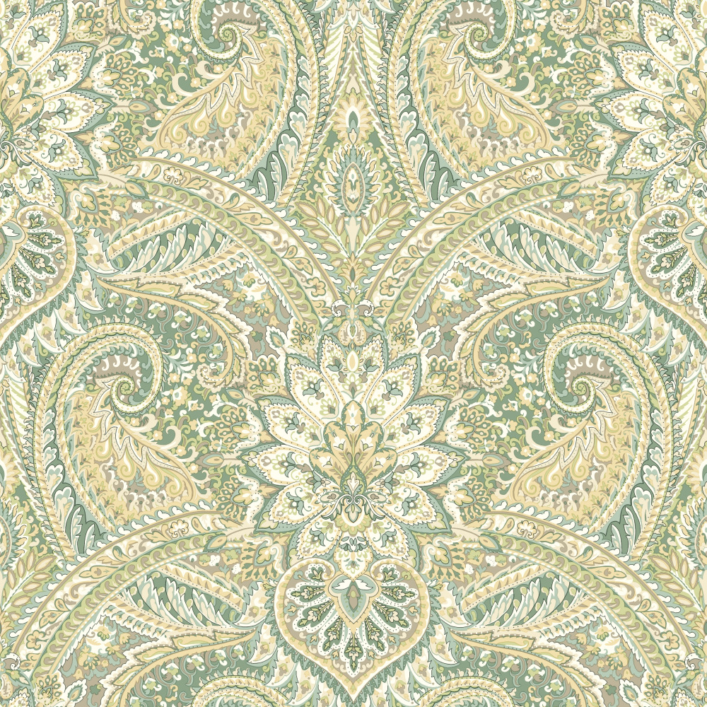 York WC7600 Waverly Classics II Swept Away Removable Wallpaper in Greens
