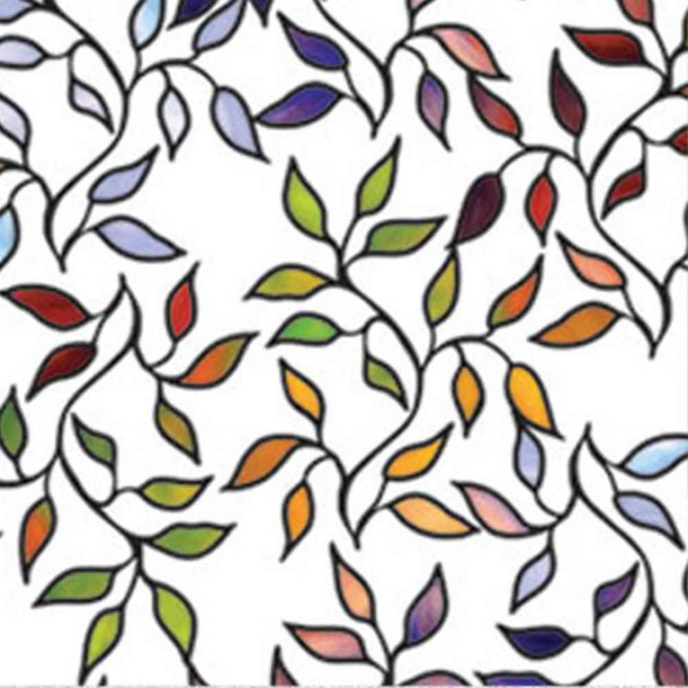 Roommates by York WFM3905SLG STAINED GLASS LEAVES WINDOWFILM in multi; red; blue; yellow; green