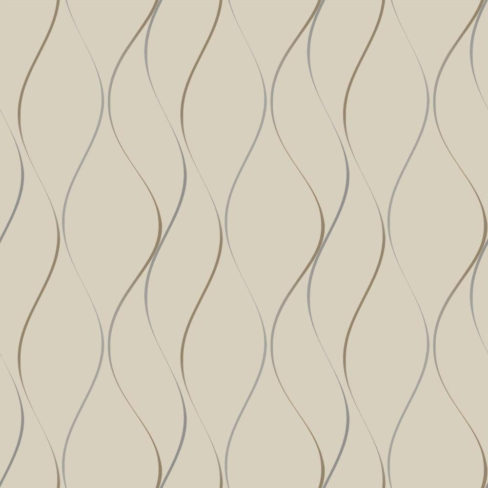 York Designer Series Y6201404 Dazzling Dimensions Wavy Stripe Contemporary Silver Gold Putty Sand Tan