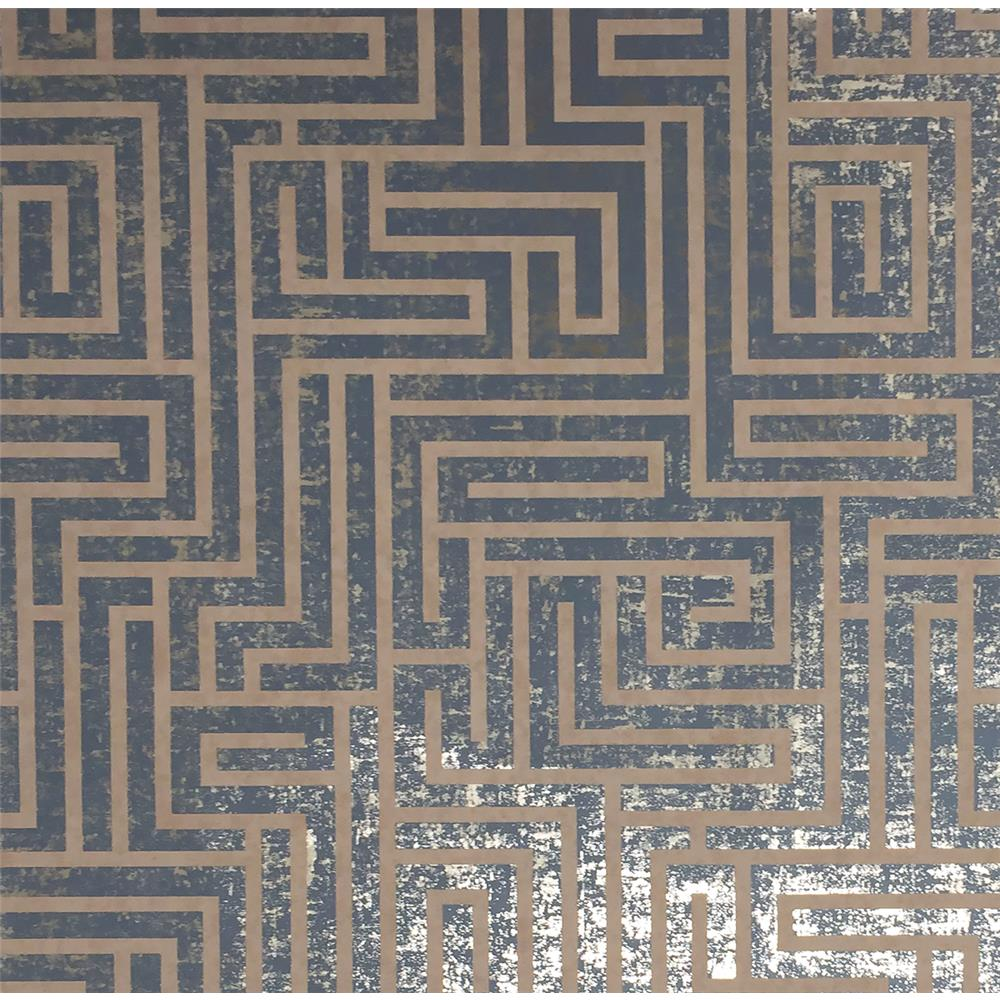York Wallcoverings Y6220205 Mid Century A-Maze Wallpaper - Dark Blue