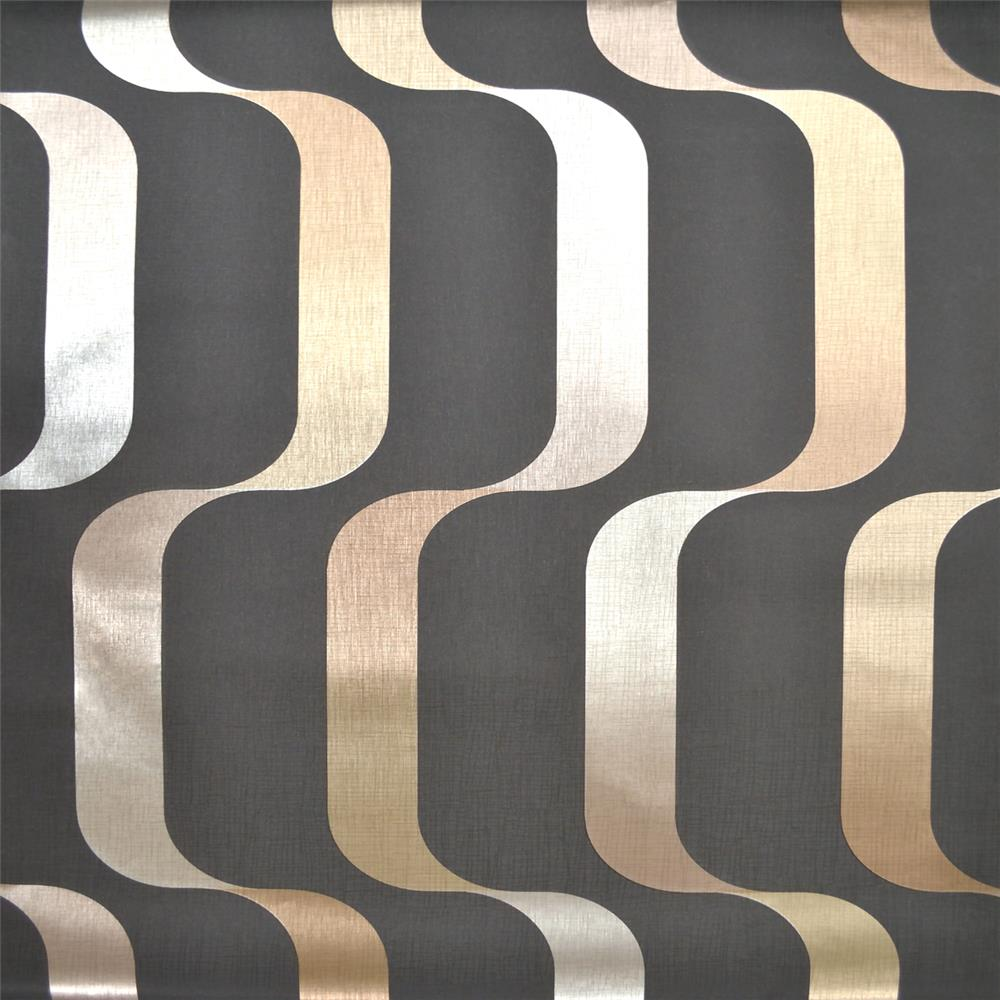 York Wallcoverings Y6221003 Mid Century Ribbon Wallpaper - Black/Taupe