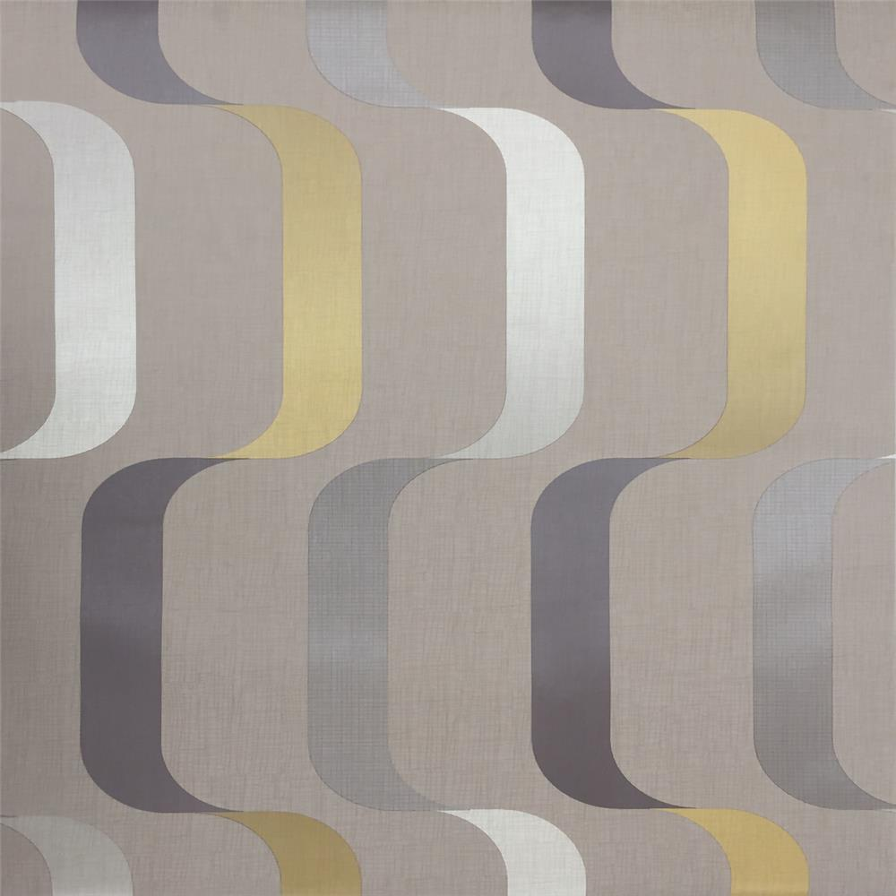 York Wallcoverings Y6221004 Mid Century Ribbon Wallpaper - Taupe/Yellow