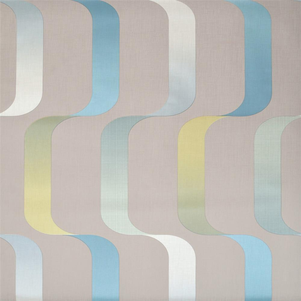 York Wallcoverings Y6221005 Mid Century Ribbon Wallpaper - Light Grey/Teal/Citron
