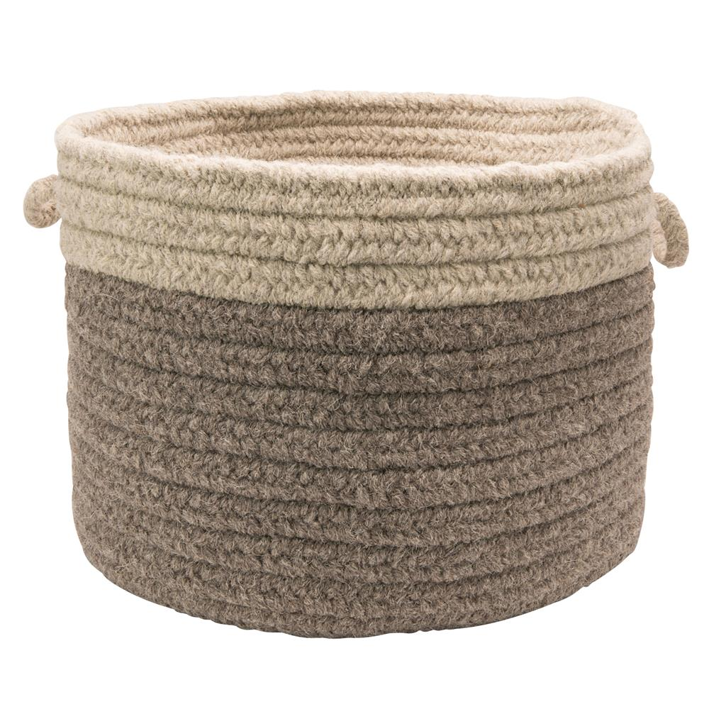 "Colonial Mills CN21A024X014 Chunky Nat Wool Dipped Basket - Dark Gray/Light Gray 24""x14"""