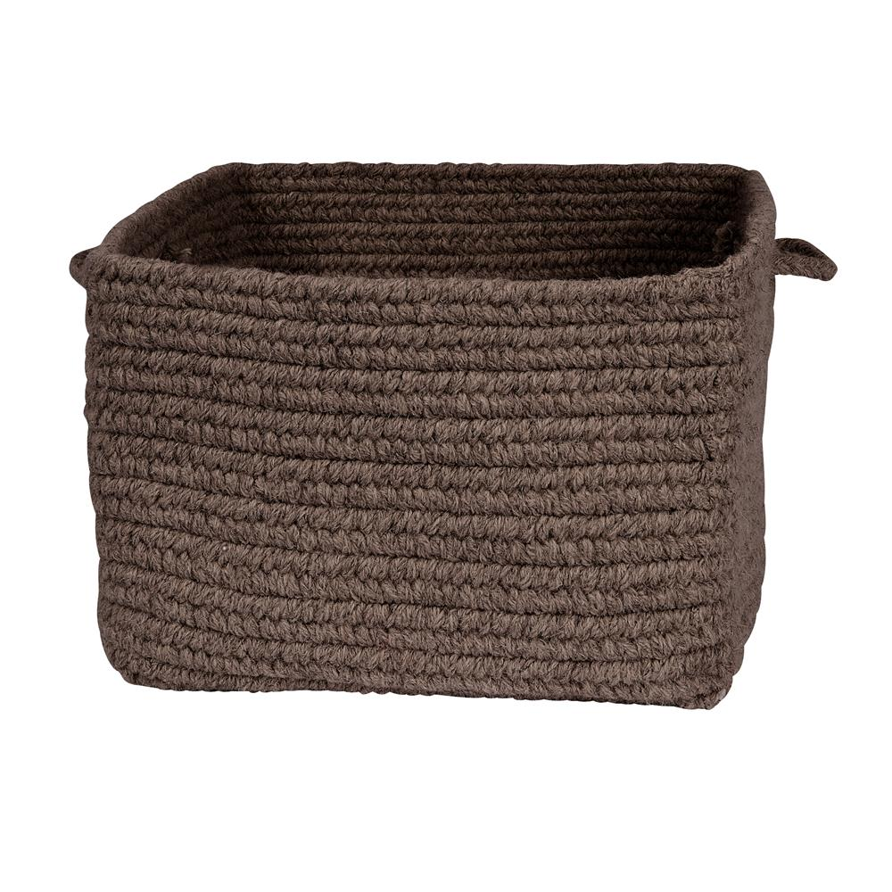 "Colonial Mills DB35A018X018S Chunky Natural Wool Square Basket - Dark Brown 18""x12"""