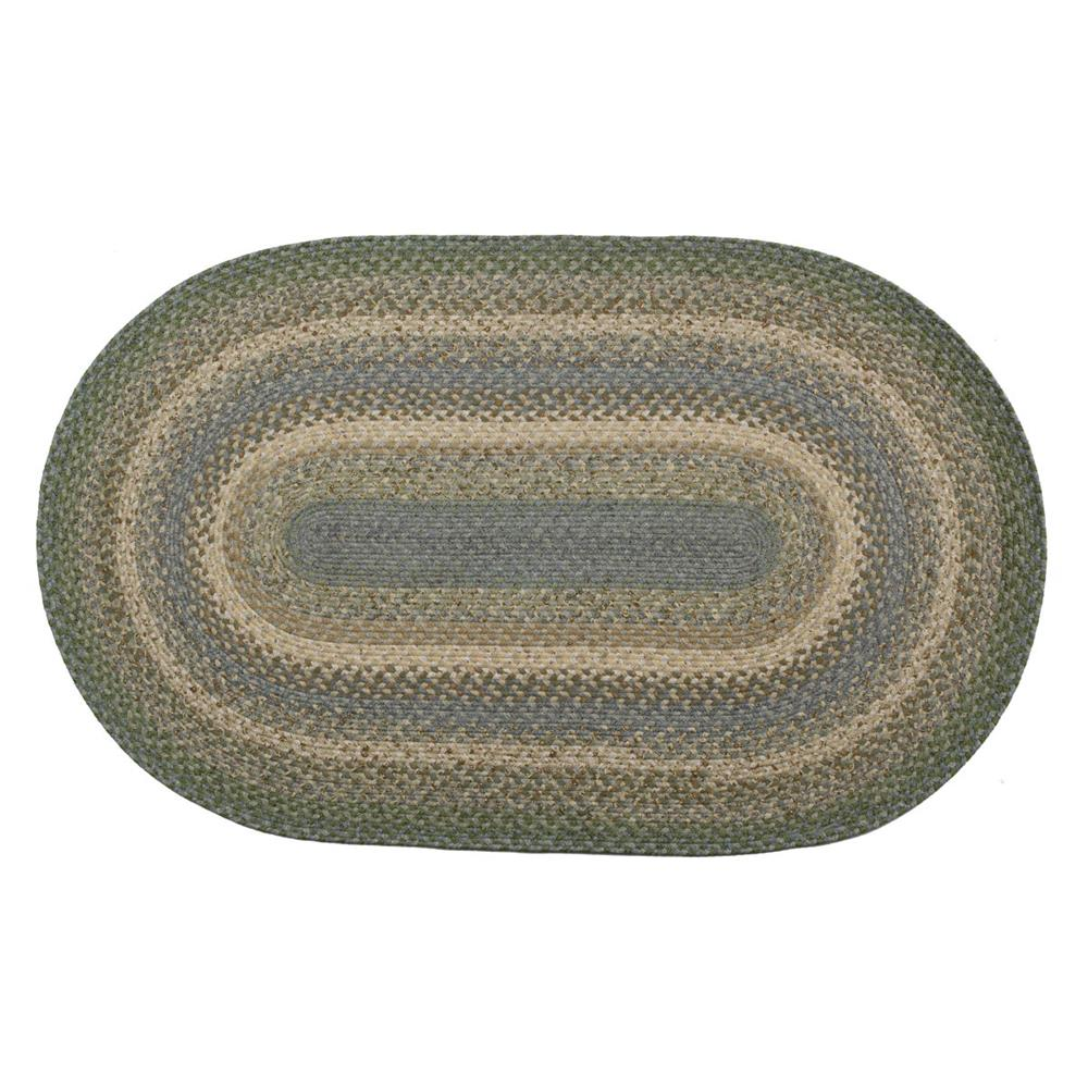 Homespice Décor Baja Blue  20 In. X 30 In. Oval Cotton Braided Rug in Blue