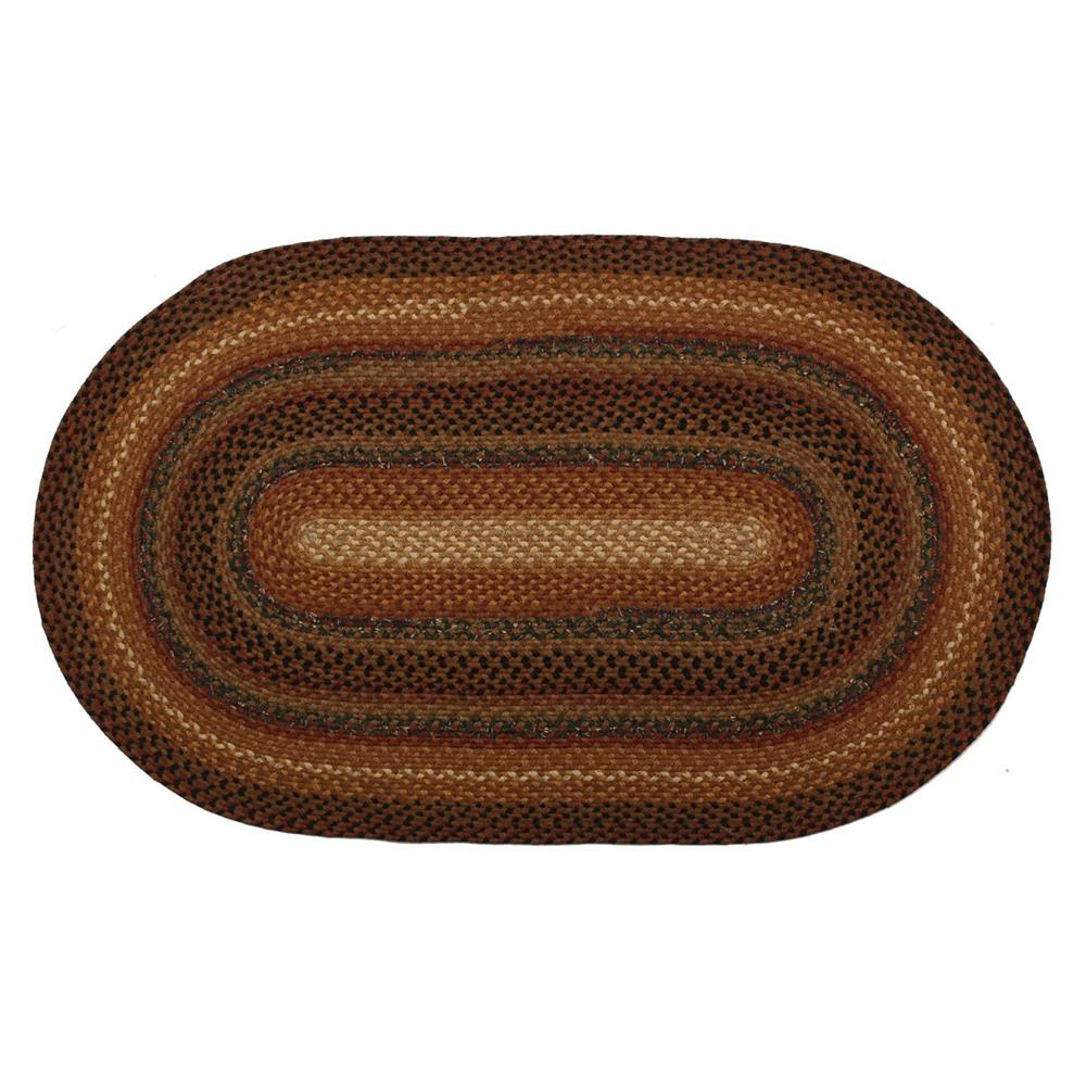 Homespice Décor Peppercorn  20 In. X 30 In. Oval Cotton Braided Rug in Gold