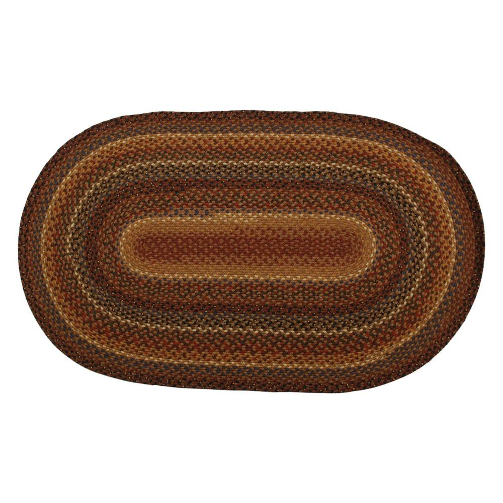 Homespice Décor Biscotti  20 In. X 30 In. Oval Cotton Braided Rug in Brown