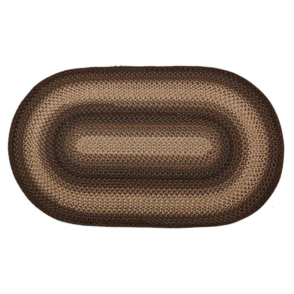 Homespice Décor Driftwood  20 In. X 30 In. Oval Ultra Durable Braided Rug in Chocolate