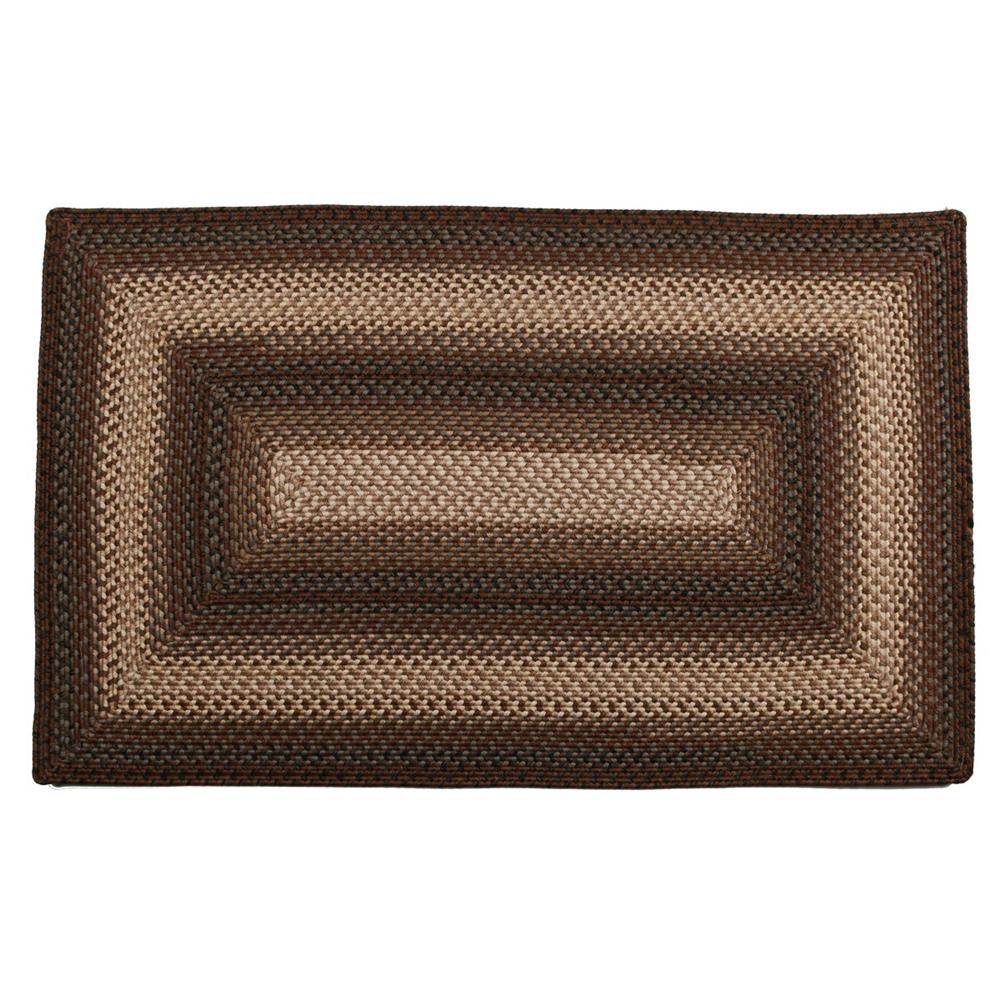 Homespice Décor Driftwood  20 In. X 30 In. Rectangular Ultra Durable Braided Rug in Chocolate